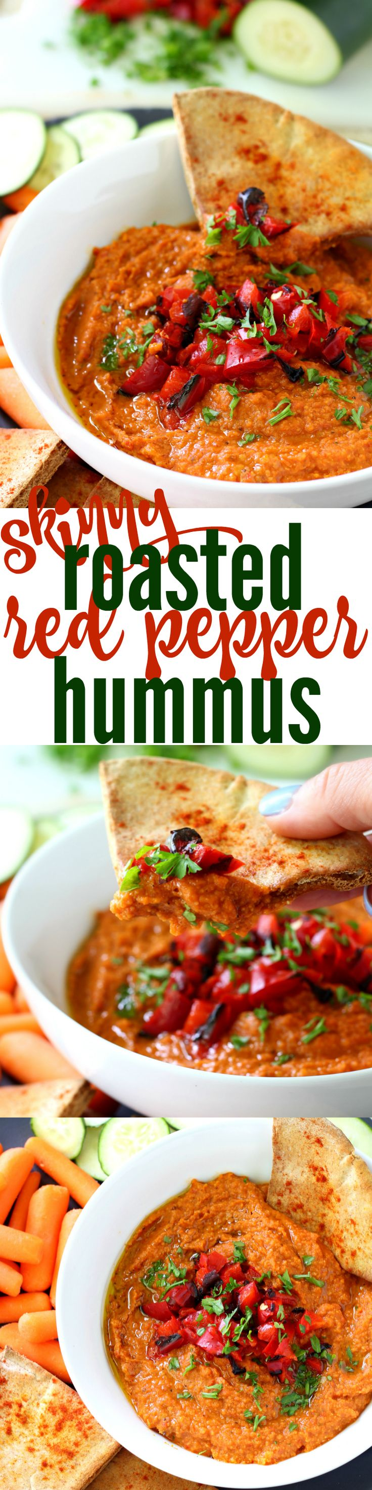 Skinny Roasted Red Pepper Hummus - this hummus is addictive! Amazing flavor, easy to make and way better than store bought. (GF, Vegan & low-calorie)