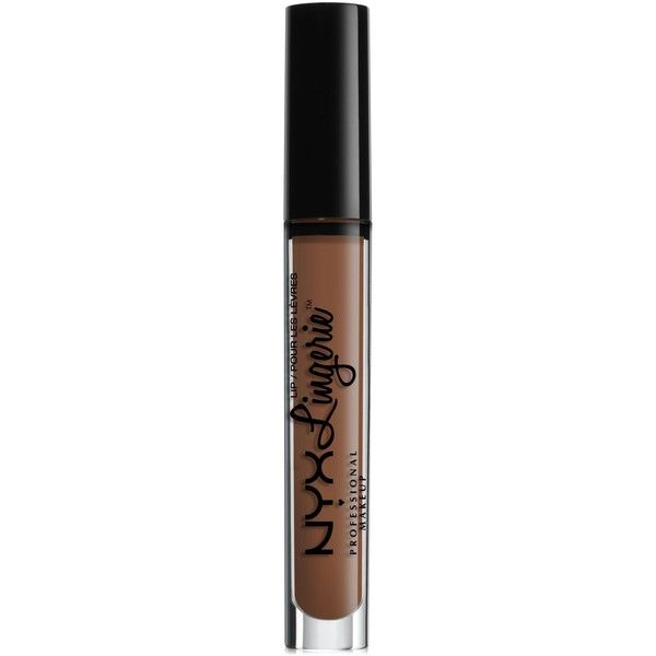 Nyx Professional Makeup Lip Lingerie Matte Liquid Lipstick ($7) ❤ liked on Polyvore featuring beauty products, makeup, lip makeup, lipstick, beauty mark, nyx lipstick, creamy lipstick and nyx