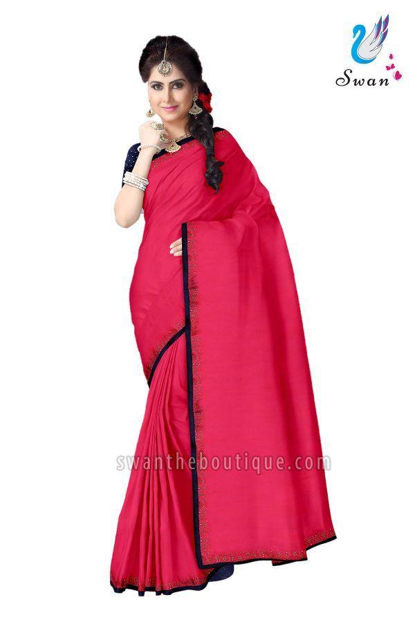 881986fccd227 Buy trendy design wedding wear pink chiffon designer saree with golden  stones online shopping in india