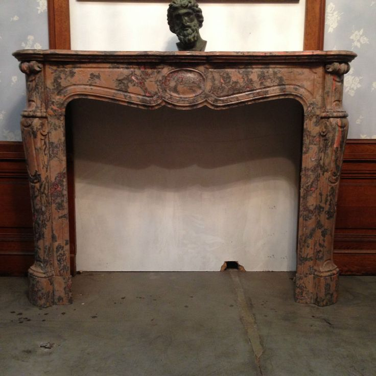 cheminée pompadour  galbée louis xv fabrication du xix siècle fleur de pécher