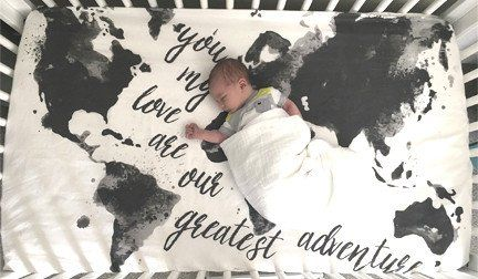"""Modern + Mod Map Crib Sheet--an Aspen Lane exclusive design. You won't find this crib sheet design anywhere else! ::Fitted Crib Sheet measures approximately 28"""" X 52"""", which will fit a standard size c"""