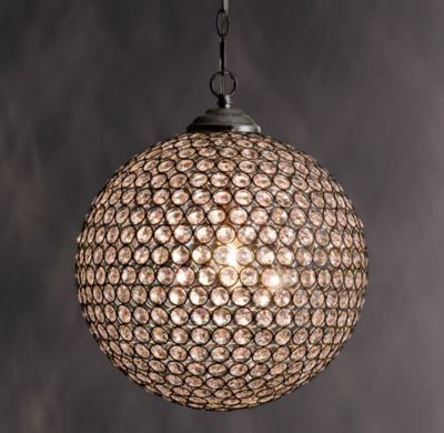 """RH baby&child's 14"""" Claridge Crystal Pendant:Strung with prismatic crystals into a simple yet stunning circle, our Claridge collection reflects and refracts light for elegant illumination."""