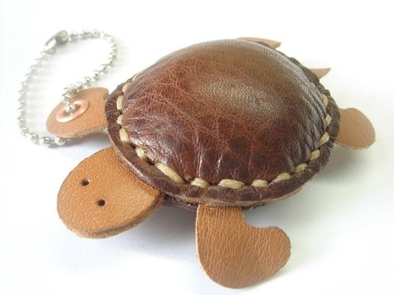 Winny the Turtle Thick Leather Charm  Brown  by leatherprince, $19.90