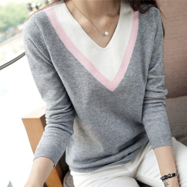 Nova alta qualidade outono inverno das mulheres de malha camisa de manga comprida outerwear camisola de decote em V solto bordado blusas femininas