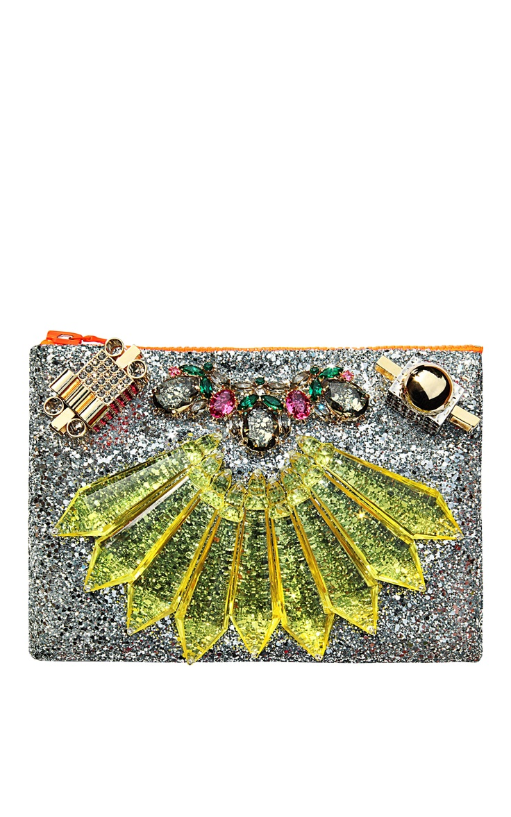 Mawi Mirrored Tubes, Teadrop Crystals and Perxpex Spikes Single Glitter Clutch