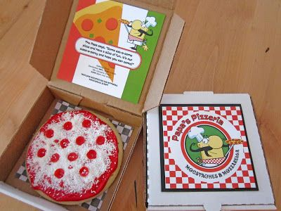 Sweeten Your Day Events: Papa's Pizzeria Party invitation inside pizza box with big pizza cookie.