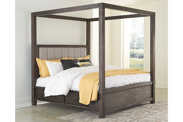 Dellbeck Queen Canopy Bed With 4 Storage Drawers In 2020 Canopy Bedroom Sets Queen Canopy Bed Canopy Bedroom