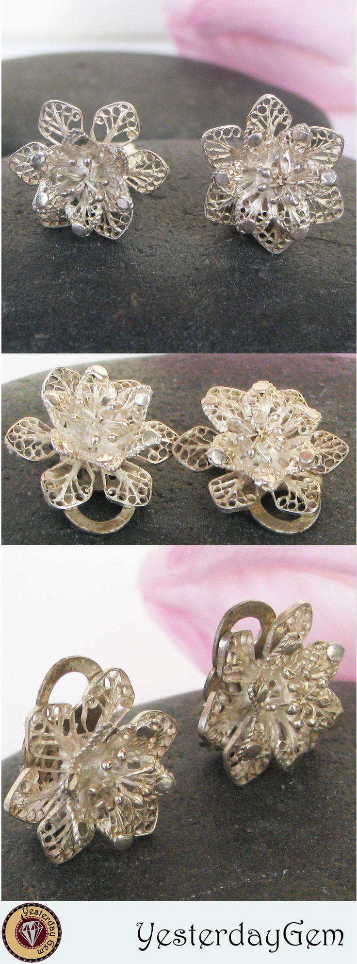 Vintage Silver Filigree Flower Clip on Earrings #filigreejewelry #vintageearrings