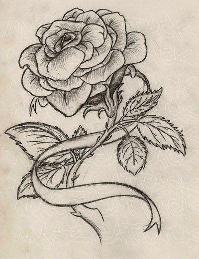 Rose with Ribbon Tattoo by Maszeattack.deviantart.com on @deviantART