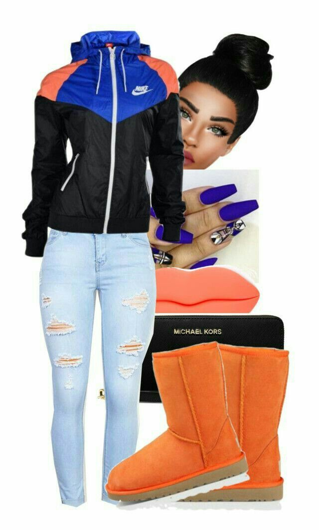 A fashion look from April 2016 featuring NIKE, UGG Australia ankle booties  and MICHAEL Michael Kors wallets.