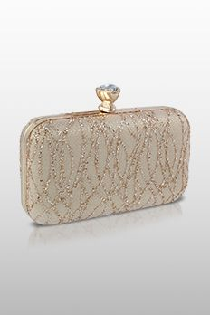 Metal frame clutch highlighted with sequins and stone knob from #Benzer #Benzerworld #Clutch #StoneWork #IndianClutch #Accessories