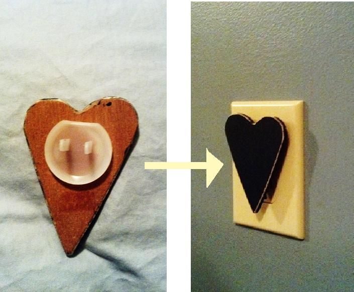 DIY outlet cover  Cut out and paint wooden heart and glue plastic outlet cover on back.