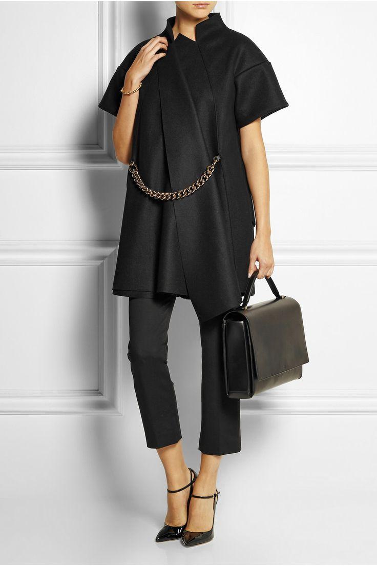 Victoria beckham Chain-Embellished Wool-Blend Felt Jacket in Black   Lyst