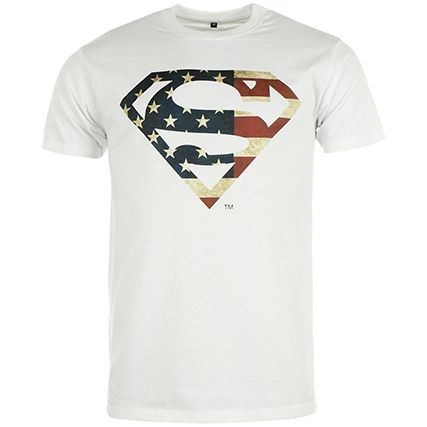Tee Shirt Superman America Logo Blanc - LaBoutiqueOfficielle.com