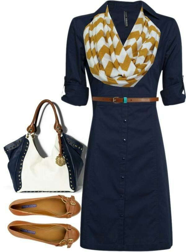 Cute spring outfit, all I need is the blue dress!
