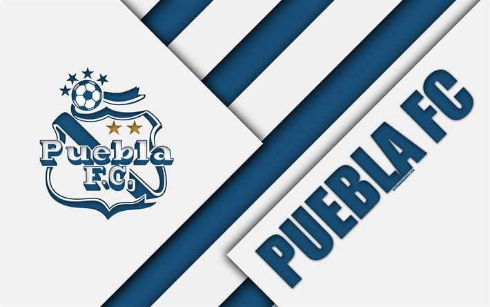 Download wallpapers Puebla FC, 4k, Mexican Football Club, material design, Club Puebla logo, blue white abstraction, Puebla de Zaragoza, Mexico, Primera Division, Liga MX