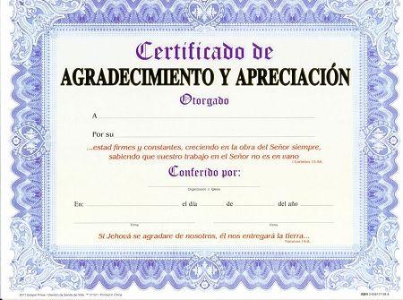 CERTIFICADO DE AGRADECIMIENTO Y APRECIACION (Paq. 15 unidades ...