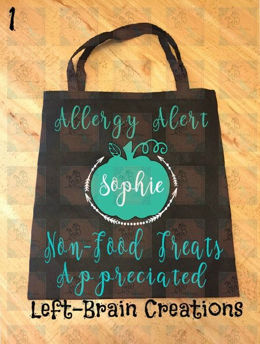 Allergy Alert Treat Bags, Teal Pumpkin Project, Don't feed me, Allergic to nuts…