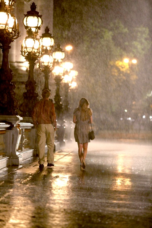"""someone who can walk together in the romantic rainy night."" Midnight In Paris (2011)"