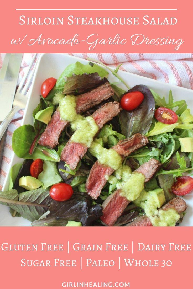 Steak Salad, Summer Recipes, Gluten Free, Grain Free, Paleo, Avocado-Garlic Dressing, Dairy Free
