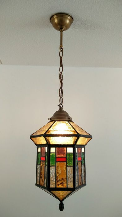 Art Deco/Amsterdam School, stained-glass hall lamp - 6-sided