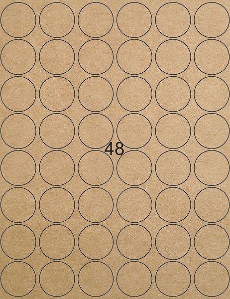 Etiketten - 48 Kraftpapier-Etiketten rund braun 31,8 mm Mit diesen braunen Kraftpapier Etiketten könnt Ihr Aufkleber und Sticker einfach selbst gestalten und drucken. . Die A4-Etiketten sind perfekt geeignet für Laser Drucker, Farblaser Drucker und Kopierer.  Die flexiblen Kraftpapier Etiketten haften sogar auf rauen, leicht feuchten und unebenen Gegenständen. 48 bedruckbare Kraftpapier Aufkleber pro Blatt 1 Set besteht aus 1 Bogen = 48 Etiketten. Größere Bestellmengen sind möglich