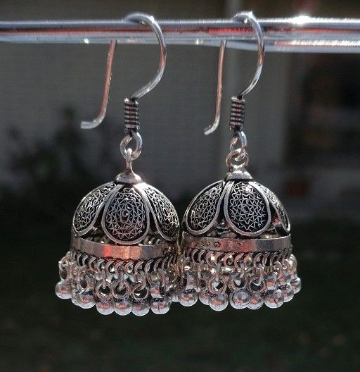 Must-have!!!! (Jaipur Jhumkas  OXIDIZED SILVER Filigree  PETITE by jhumkas)
