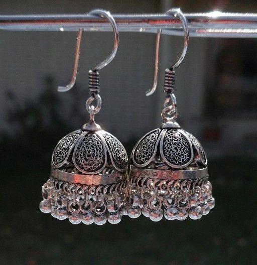 Must-have!!!! (Jaipur Jhumkas OXIDIZED SILVER Filigree PETITE by jhumkas)