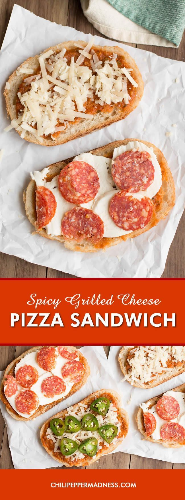 Spicy Pizza Grilled Cheese Sandwich - Satisfy your craving for pizza AND grilled cheese with this sandwich recipe, with homemade pizza sauce, spicy pepperoni, jalapeno peppers and plenty of mozzarella cheese melted between 2 slices of buttered sourdough bread. Delicious!