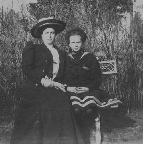 Princess Alice of Battenburg with Grand Duchess Tatiana Nikolaevna Romanova of Russia in 1908.Princess Alice was a first cousin to OTMAA and the mother of Prince Phillip,Duke of Edinburgh.A♥W