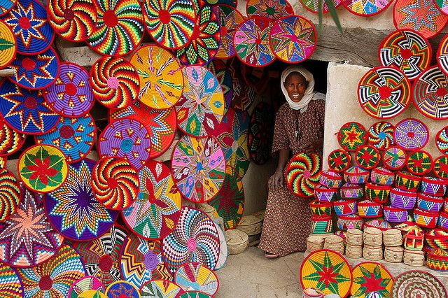 colorful market in Ethiopia! I've seen these women make these BEAUTIFUL baskets!! The women there are SOOO BEAUTIFUL & extremely talented!!!