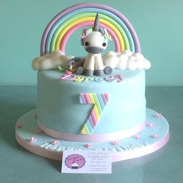 Happy 7th Birthday Darcey. Cute #unicorn cake #sweetcheekscupcakesessex #essex #essexcakes #cakes #instacake #birthday #rainbow