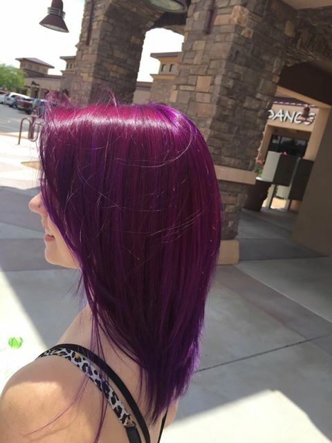 A whole tube of Pravana Wild Orchid mixed with half a tube of Pravana Violet!:)