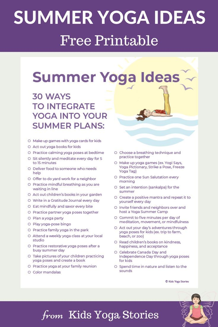 Summer Yoga Ideas For Kids Printable Poster Yoga For Kids Yoga