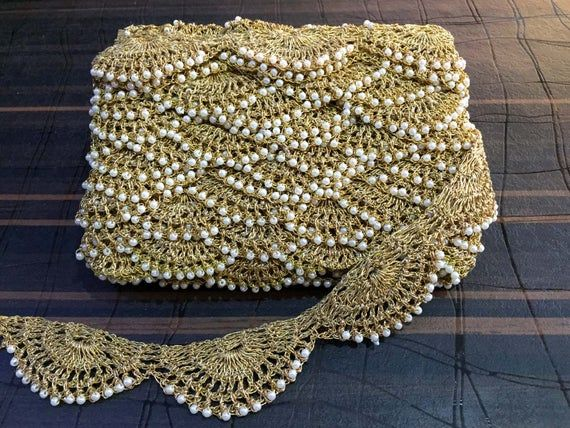 "1 meter gold 2.5/"" diamante lace trimming mirrors beads stone ribbon border edge"