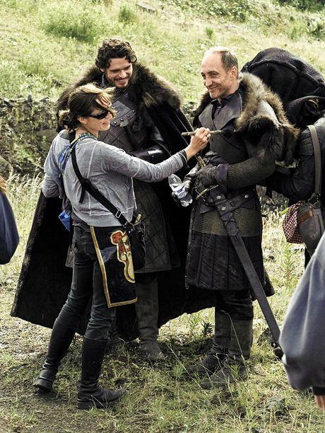 SEASON 3 Richard Madden (Robb Stark), Michael McElhatton (Roose Bolton), and a crew member prepare for a scene in the Riverlands.