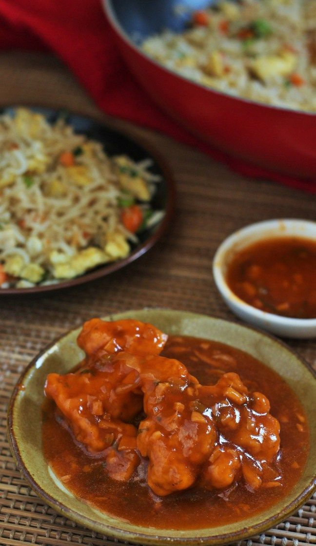 A delicious and popular Indo-Chinese recipe-Chicken Manchurian Gravy. Fried chicken pieces in a spicy and tangy sauce