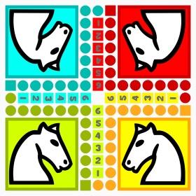 Un plateau de jeu grand format à imprimer et à plastifier pour jouer au célèbre jeu des petits chevaux.