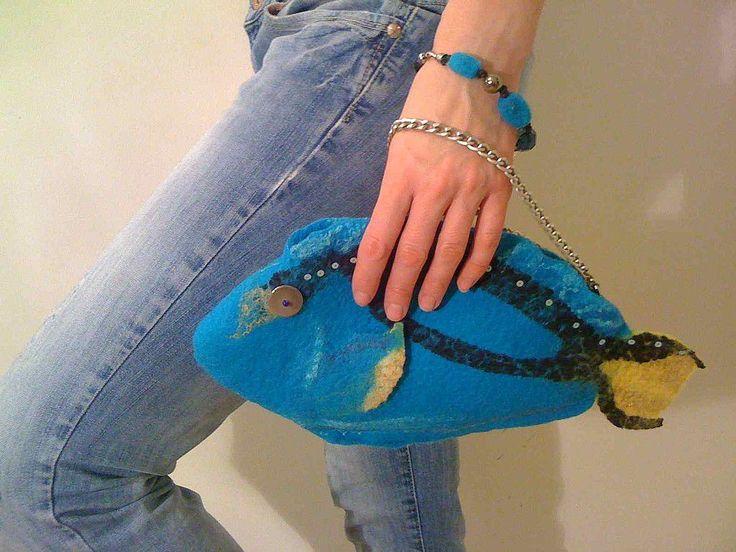 """Купить Арт-сумка """"Подводная одиссея"""" - войлочная сумка, необычные сумки, ракушка, морская тема"""