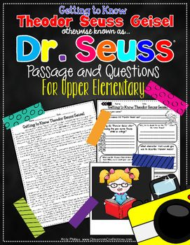 Theodor Seuss Geisel.....A.K.A. Dr. Seuss. This pack includes a short close reading passage about the famous author. It is a high interest and filled with fun facts, such as what a pen name is, how he became known as Dr. Seuss even though he doesn't have a doctorate degree, his first and last children's books published, and lots more.