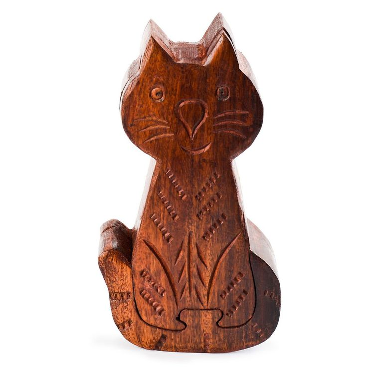 Wooden Mystery Puzzle Box - Cat