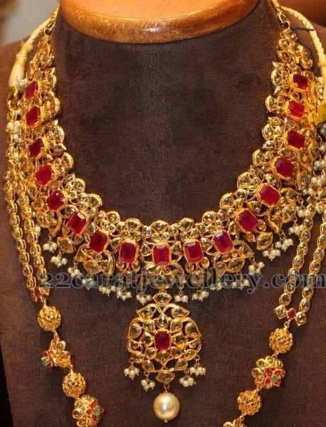 Jewellery Designs: Manepally's Cabochon Ruby Uncut Set