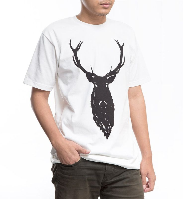 Deer T-Shirt Leather Theory. T-shirt in white color with print of deer picture in black color. Features cotton as material and round collar detail.  http://www.zocko.com/z/JJpcC