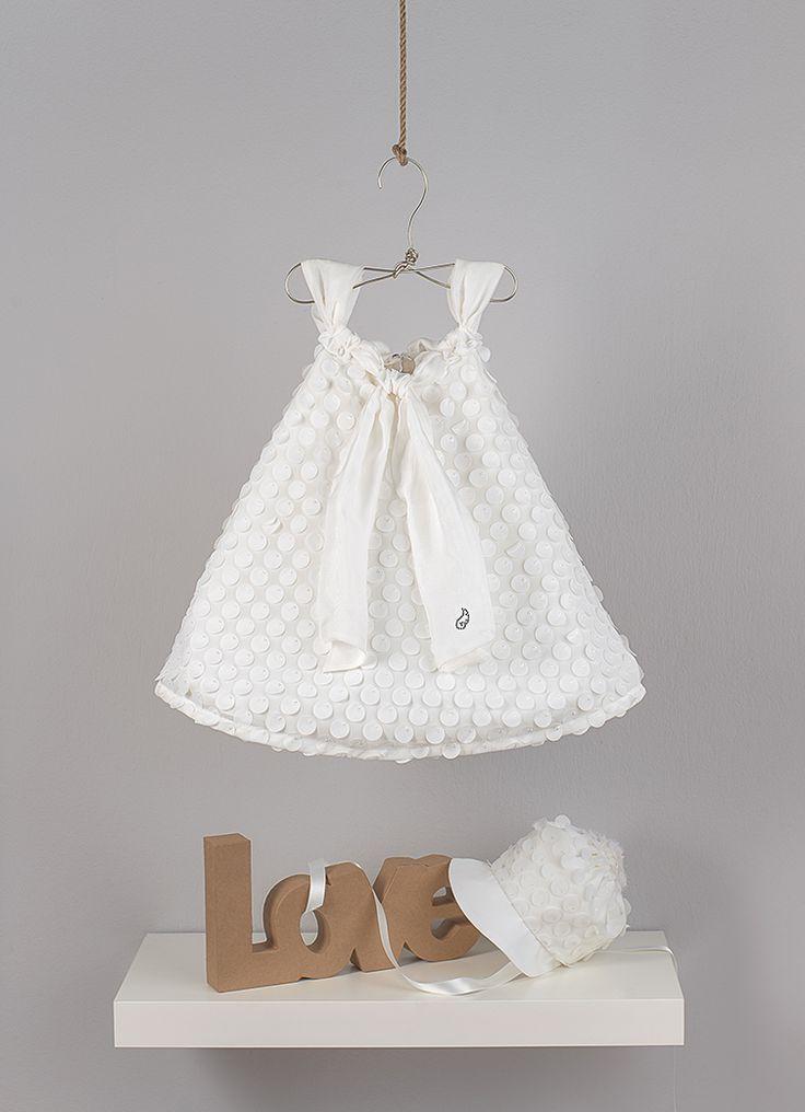 Εcru dress  on bias from muslin with laser cut dots pattern and scarf made from chiffon silk fabric  Muslin ivory hat with  laser cut dots pattern