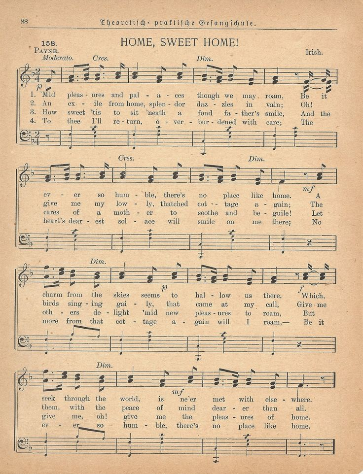 """Antique Graphics Wednesday - 1885 Sheet Music, """"Home Sweet Home"""" 