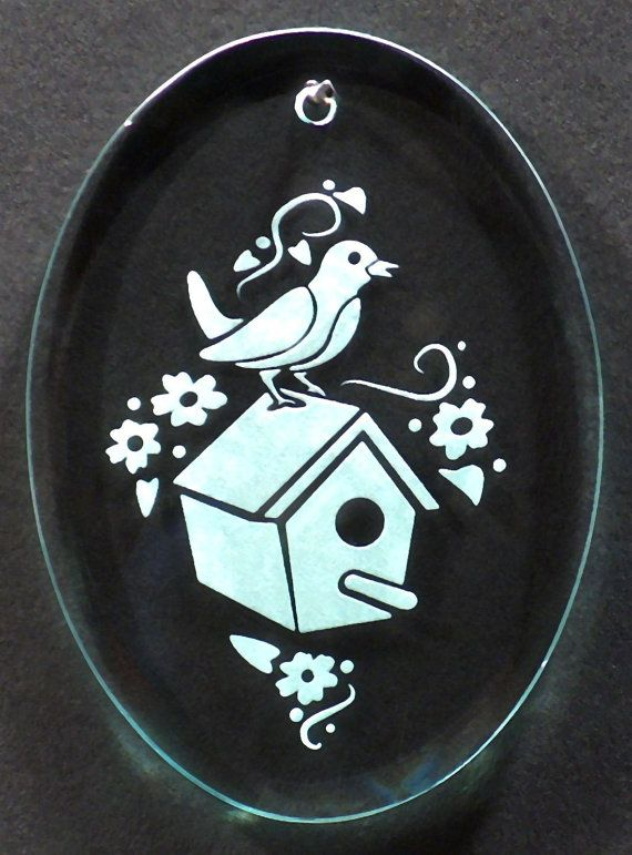 Carved Glass Birdhouse Ornament by braithwaitestudios on Etsy