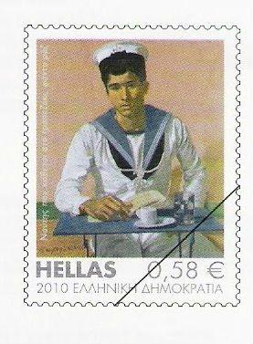 """2010 (11 Φεβρουαρίου) Ελληνική Τέχνη. Δείχνει ένα από τα έργα του Τσαρούχη με θέμα """"Ναύτης που κάθεται στο τραπεζάκι"""" (1980)."""