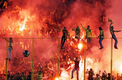 Crazy Greek soccer fans