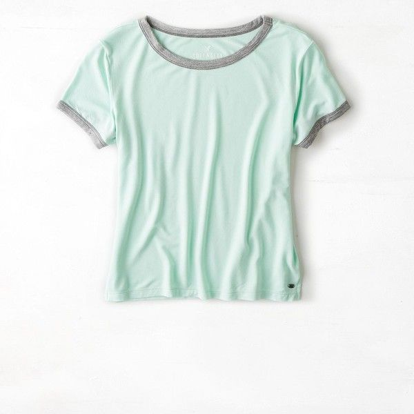American Eagle Soft & Sexy Baby T-Shirt ($18) ❤ liked on Polyvore featuring tops, t-shirts, shirts, sunbleached mint, green tee, t shirts, mint t shirt, crop top and green shirt