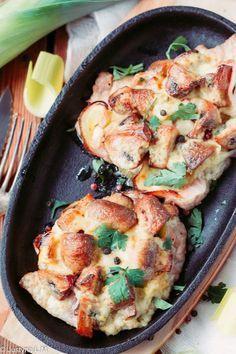 Zapiekany kotlet z porem, pieczarkami i majonezem - Gotowanie i pieczenie - I love it .